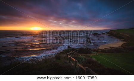 Dramatic Sunset At Half Moon Bay Beach
