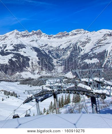 Engelberg, Switzerland - 9 March, 2016: cable car on Mt. Titlis. Titlis is a mountain of the Uri Alps, located on the border between Swiss Cantons of Obwalden and Bern, mainly accessed from the town of Engelberg.