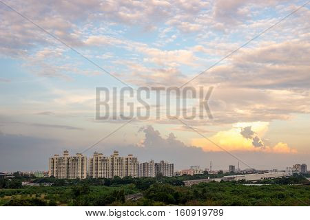 Sky in sunset time with building resident; Condominium in the city.