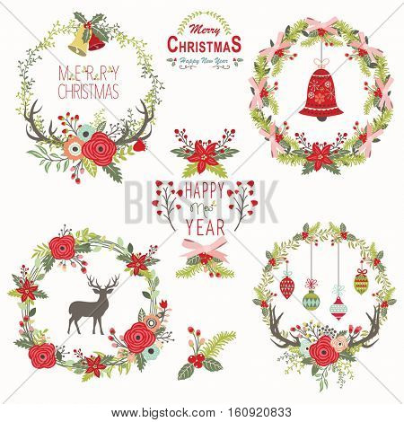 Rustic Christmas Floral Wreath