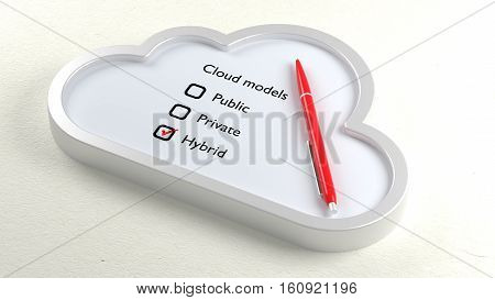 Three different cloud models in a symbol checklist with a ball pen and hybrid crossed off 3D illustration