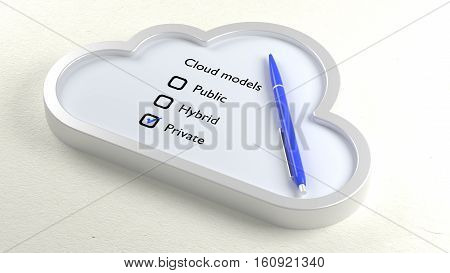 Three different cloud models in a symbol checklist with a ball pen and private crossed off 3D illustration