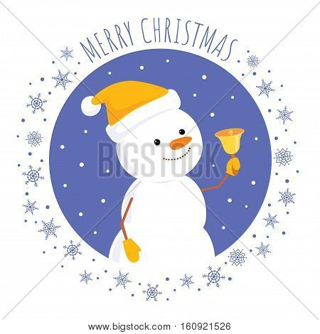 Vector cartoon illustration of a cute snowman in a yellow cap looking up and ringing a bell. Square format, text