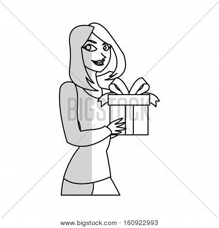 Gift and woman icon. Present holiday celebration and surprise theme. Isolated design. Vector illustration
