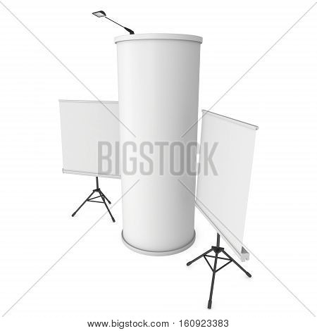 Roll Up and Pop Up Banner Stands and Column. Trade show booth white and blank. 3d render isolated on white background. High Resolution Template for your design.
