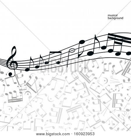 Vector music  background: melody, notes, key.