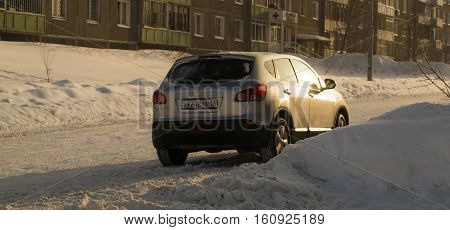 Ust-Kamenogorsk Kazakhstan December 8 2016 - Nissan Qashqai in the street. The Nissan Qashqai is a line of compact crossovers producing by japan automaker Nissan