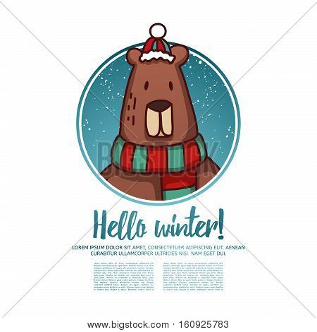 Template design banner for Christmas. Frame with cute cartoon bear wearing a scarf. Poster with text Hello winter. Postcard and invitation to a winter event
