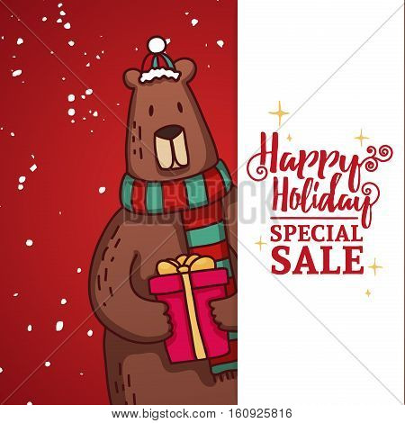 Set design template New Year's discount banner. Christmas poster with a cute Bear for sale. Happy holiday offer with bear wearing a scarf and with cartoon gift. Xmas advertising for sale.