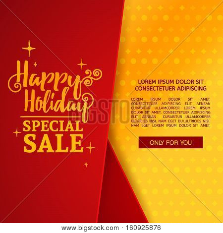 Template design christmas banner with vertical tape. Happy holiday brochure with decoration tape for xmas sale. Poster shiny gold background for a new year offer.