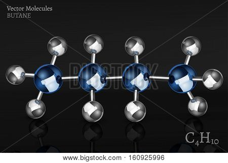 Butane molecule in 3D style. C4H10 vector illustration isolated on a dark grey background. Scientific, educational and popular-scientific concept.