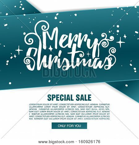 Template design Merry Christmas banner. Happy holiday brochure with decoration tape for xmas sale. Poster with blue tape background for a new year offer. Vector