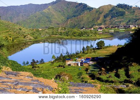 Cebong Lake. Cebong (Tadpole) Lake is a lake that occurred from ancient crater, located in the highest village in Java, Desa Sembungan, Indonesia. The size is 12Ha. As it one of the tourism spot in Dieng, this pond is also a become one of the source to ir