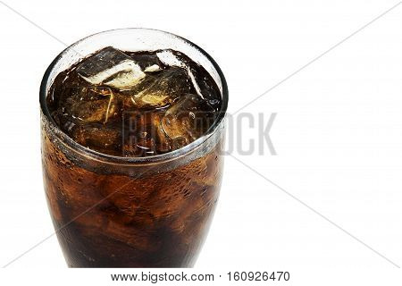 Close up soft drink with soda in glass with ice cubes on white background. objects with clipping paths