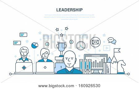 Leadership and leadership development, management, career growth, success in the work and learning, business. Illustration thin line design of vector doodles, infographics elements.