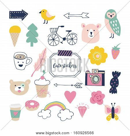 Stylish hand drawn stickers for graphic and web design. Cute decoration for planner and journal poster