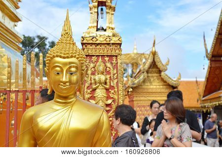 Chiang Mai Thailand December 3, 2016 : Buddhism and tourist ceremony walk around pagoda contain Buddha ash in Wat Phrathat Doi Suthep ancient temple
