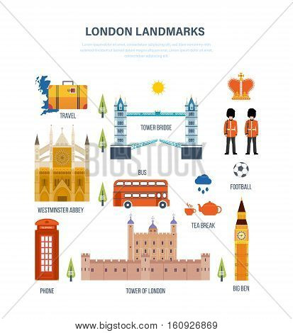 Concept of illustration - landmarks of London, its architecture and structure, culture and style, traditions and buildings. Vector design for website, banner, printed materials and mobile app.