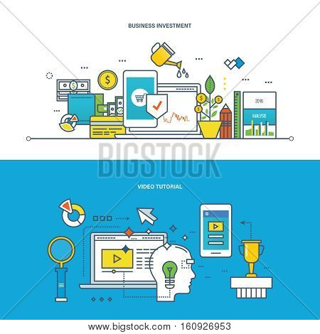 Concept of illustration - business, investments, finance and management, modern techology and learning, education, video tutorial. Vector design for website, banner, printed materials and mobile app.