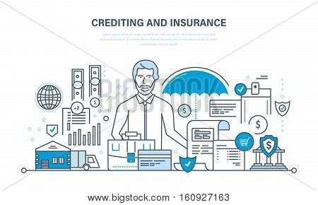 Concept - crediting and property insurance, financial security, commercial activity, finance, business, technology. Illustration thin line design of vector doodles, infographics elements.