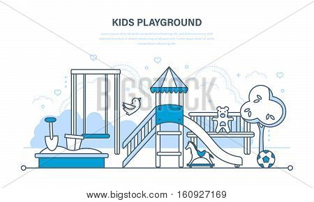 Children's entertainment playground, with a slide, benches, a sandbox, a swing and a recreation park. Kids playground. Illustration thin line design of vector doodles, infographics elements.