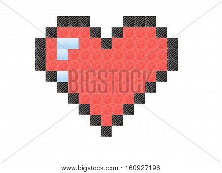 Pixel art heart with stereo and 3D effect