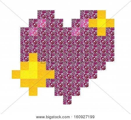 Pixel art of flower with stereo and 3D effect