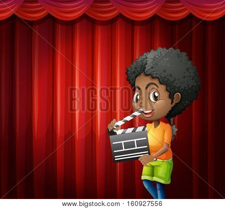 Girl holding clapboard in front of red curtain  illustration