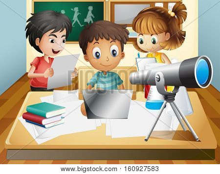 Three kids working in group at school illustration