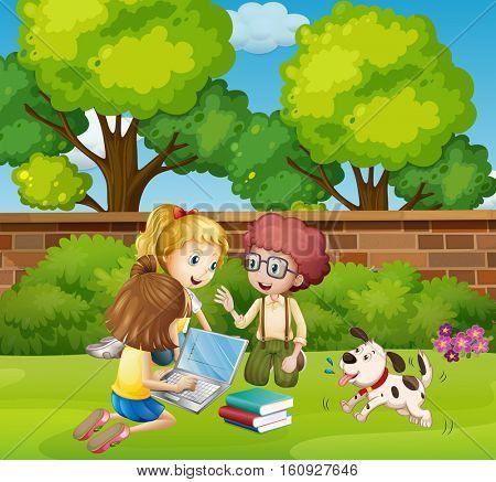 Three children working on computer in park illustration
