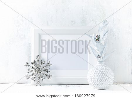 White Christmas decorations and a image frame