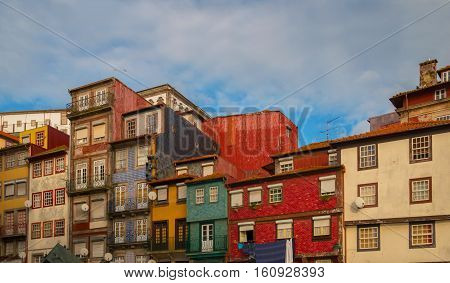 Colorful houses in Porto harbor in sunset colors