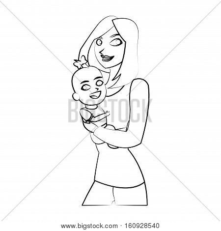 Baby and mother cartoon icon. Child kid little small and infant theme. Isolated design. Vector illustration