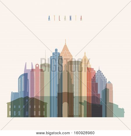Transparent styled Atlanta state Georgia skyline detailed silhouette. Trendy vector illustration.