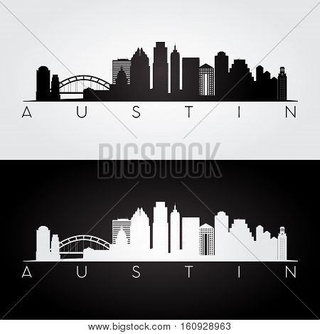 Austin USA skyline and landmarks silhouette black and white design vector illustration.