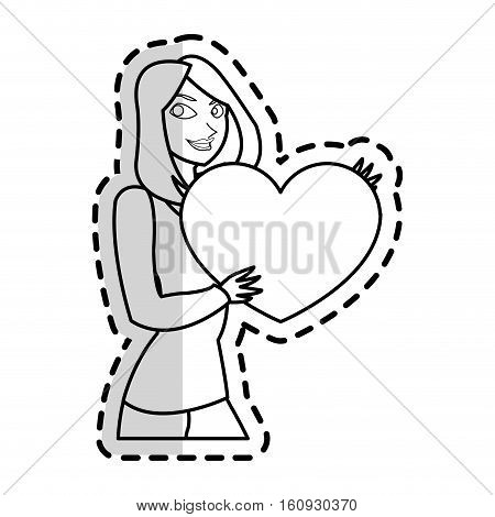 heart gift and woman icon. Present holiday celebration and surprise theme. Isolated design. Vector illustration