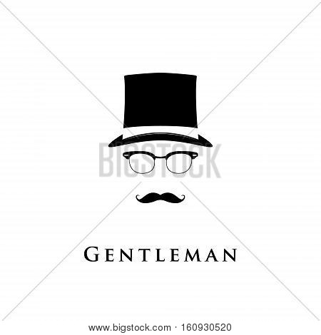 Silhouette of gentleman's face with twisted moustaches and bowler. English man.