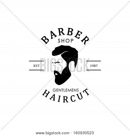 Vector vintage barber shop logo for your design. For Label Badge Sign or Advertising. Hipster Man Hairdresser Logo.