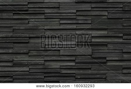 Black Bricks Slate Texture Background Stone Wall