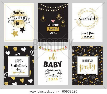 Chic Party glitter greeting cards and invitations. Gold hearts, speech bubbles, stars and other elements. Vector element, backgrounds. Golden, pink and blue sparkle, chic style