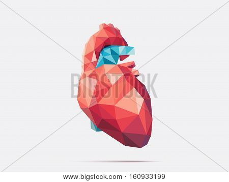 Illustration of human heart with faceted low-poly geometry effect