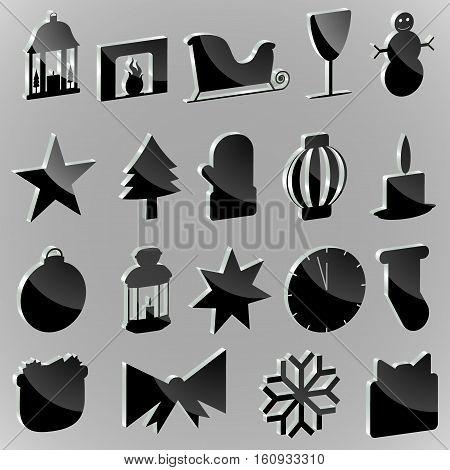 Silhouettes stickers Christmas paraphernalia on a white background
