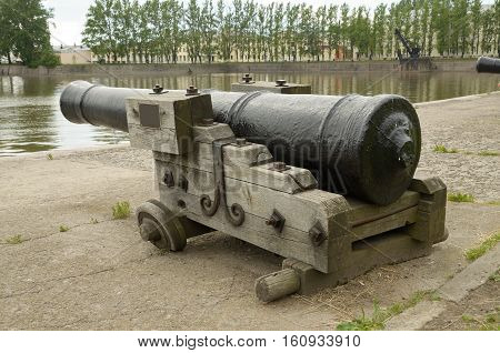 Old cannon on the beachmade in tsarist times.