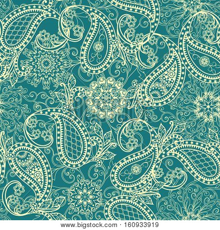 The pattern of mandalas, flowers and Paisley pattern in Oriental style.