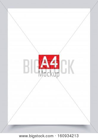 Mockup blank white paper page A4 size with shadow. Vector flyer a4 mock-up isolated on gray background. Material design mock up vector illustration poster.
