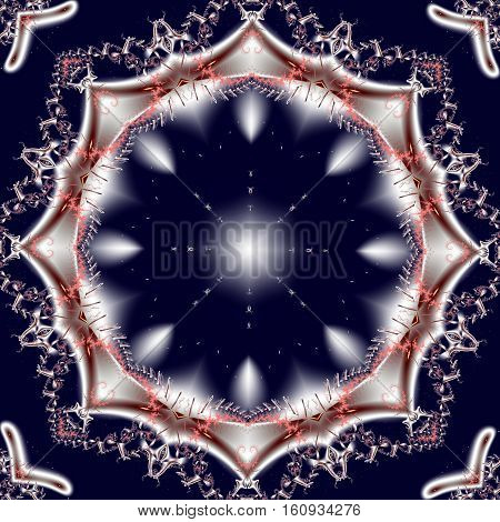 Fabulous blue and white fractal background with circle ornament.