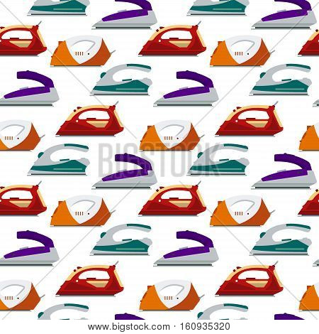 Seamless pattern colorful irons - vector illustration. Flat electrical equipment, ironing electric appliance, home device, housework tool.