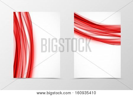 Front and back dynamic flyer template design. Abstract template with red lines in dynamic style. Vector illustration