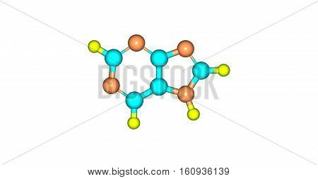 Purine is a heterocyclic aromatic organic compound that consists of a pyrimidine ring fused to an imidazole ring. Purine gives its name to the wider class of molecules purines. 3d illustration
