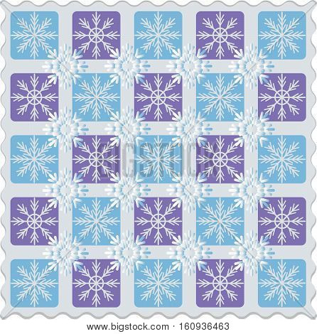 Checkerboard of snowflakes. Pattern. Design for textile, tissue, wrapping paper.